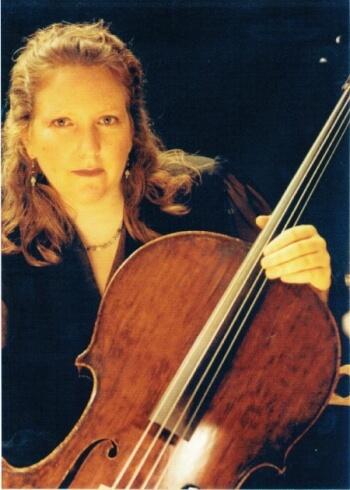 Alice Stewart holding cello