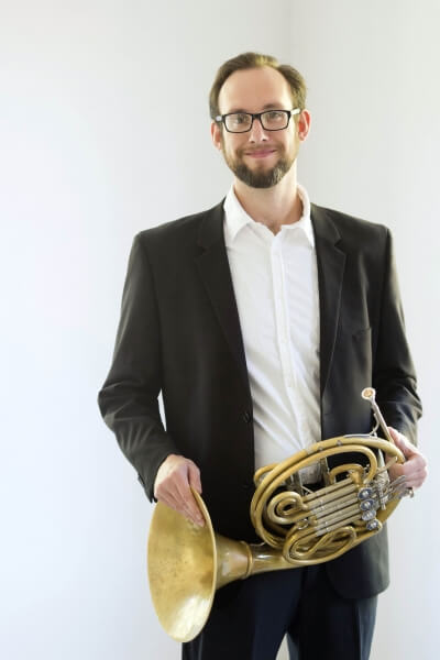 Sean Donovan with his french horn
